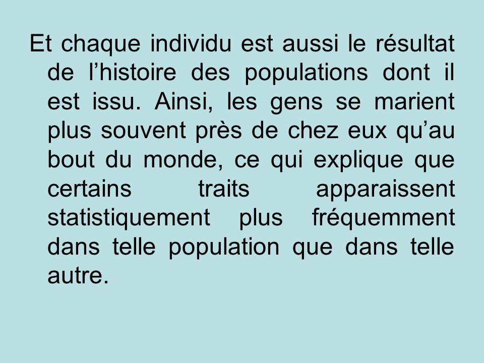 Et chaque individu est aussi le résultat de lhistoire des populations dont il est issu. Ainsi, les gens se marient plus souvent près de chez eux quau