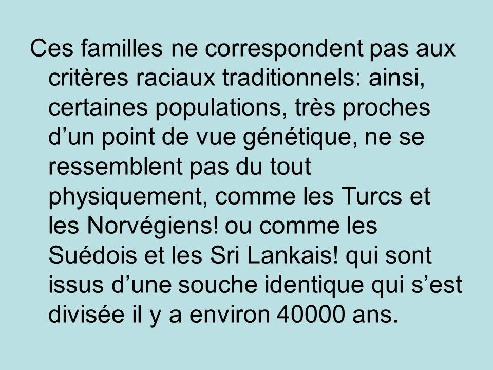 Ces familles ne correspondent pas aux critères raciaux traditionnels: ainsi, certaines populations, très proches dun point de vue génétique, ne se res