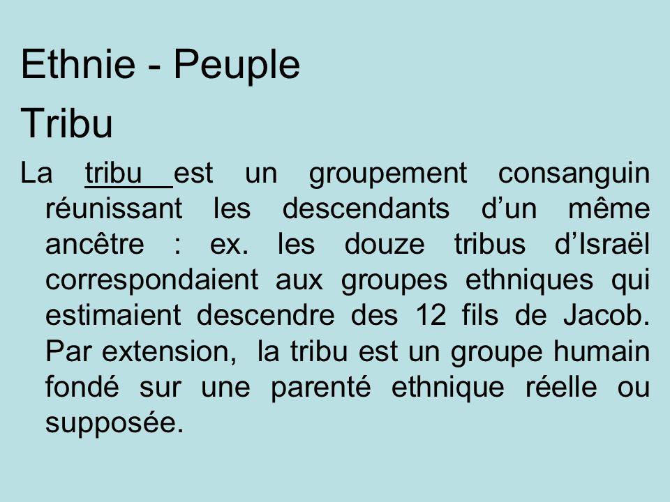 Ethnie - Peuple Tribu La tribu est un groupement consanguin réunissant les descendants dun même ancêtre : ex. les douze tribus dIsraël correspondaient