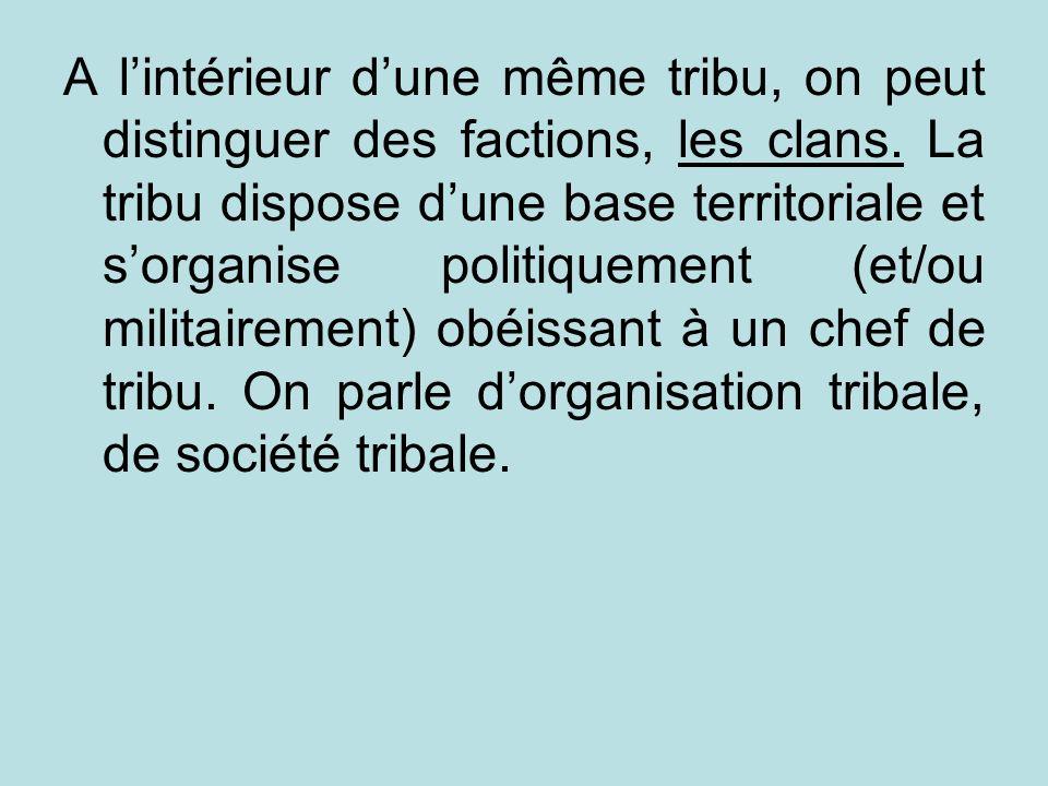 A lintérieur dune même tribu, on peut distinguer des factions, les clans. La tribu dispose dune base territoriale et sorganise politiquement (et/ou mi