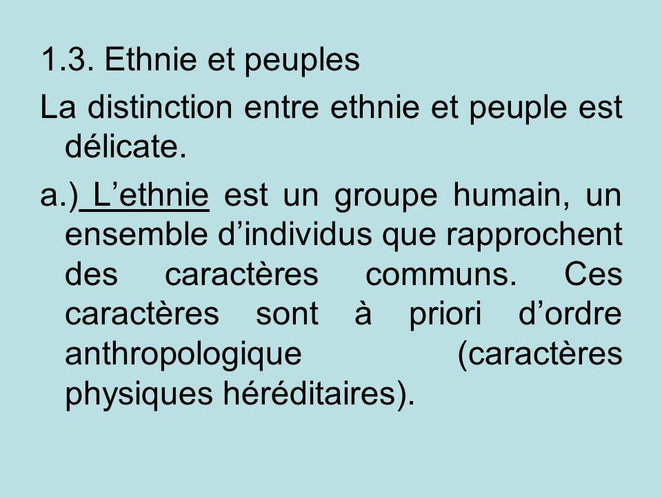 1.3. Ethnie et peuples La distinction entre ethnie et peuple est délicate. a.) Lethnie est un groupe humain, un ensemble dindividus que rapprochent de