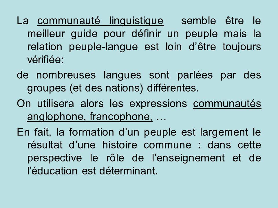 La communauté linguistique semble être le meilleur guide pour définir un peuple mais la relation peuple-langue est loin dêtre toujours vérifiée: de no