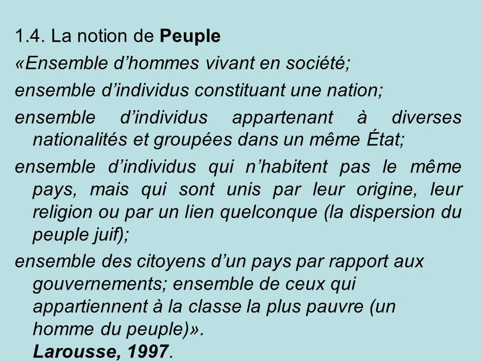 1.4. La notion de Peuple «Ensemble dhommes vivant en société; ensemble dindividus constituant une nation; ensemble dindividus appartenant à diverses n