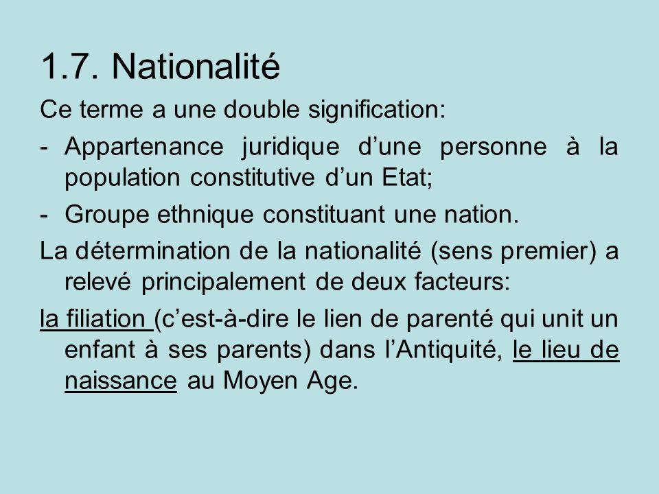 1.7. Nationalité Ce terme a une double signification: -Appartenance juridique dune personne à la population constitutive dun Etat; -Groupe ethnique co