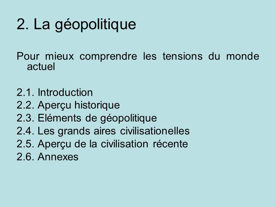2. La géopolitique Pour mieux comprendre les tensions du monde actuel 2.1. Introduction 2.2. Aperçu historique 2.3. Eléments de géopolitique 2.4. Les