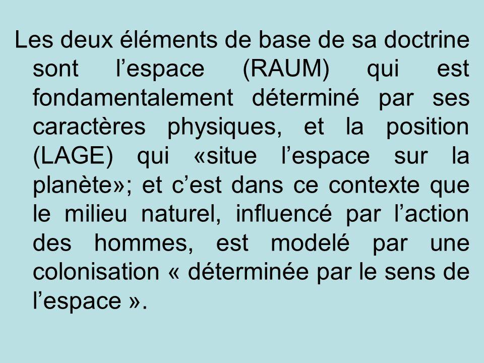 Les deux éléments de base de sa doctrine sont lespace (RAUM) qui est fondamentalement déterminé par ses caractères physiques, et la position (LAGE) qu