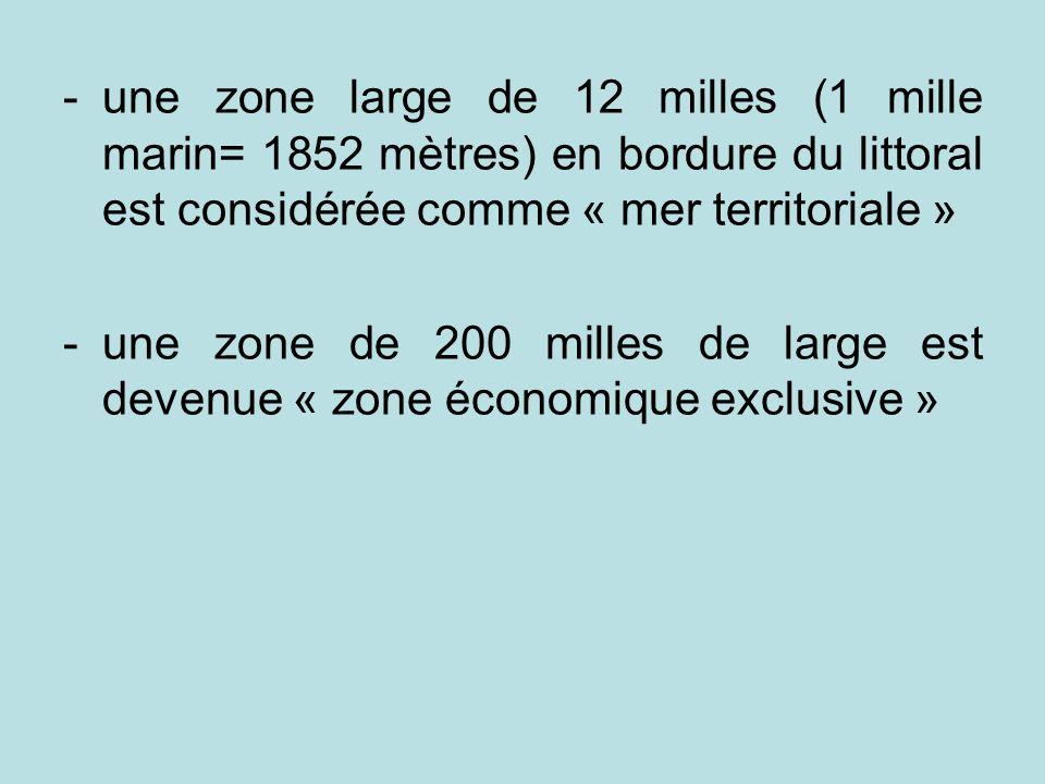 -une zone large de 12 milles (1 mille marin= 1852 mètres) en bordure du littoral est considérée comme « mer territoriale » -une zone de 200 milles de