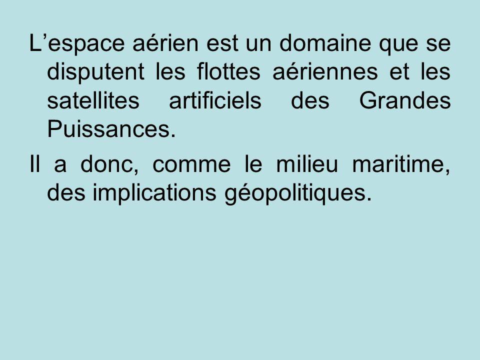 Lespace aérien est un domaine que se disputent les flottes aériennes et les satellites artificiels des Grandes Puissances. Il a donc, comme le milieu
