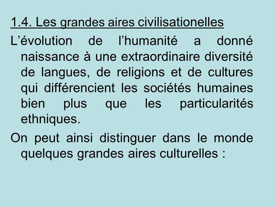1.4. Les grandes aires civilisationelles Lévolution de lhumanité a donné naissance à une extraordinaire diversité de langues, de religions et de cultu
