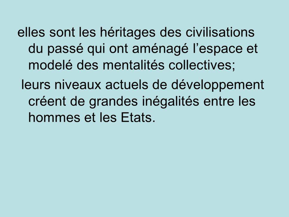 elles sont les héritages des civilisations du passé qui ont aménagé lespace et modelé des mentalités collectives; leurs niveaux actuels de développeme