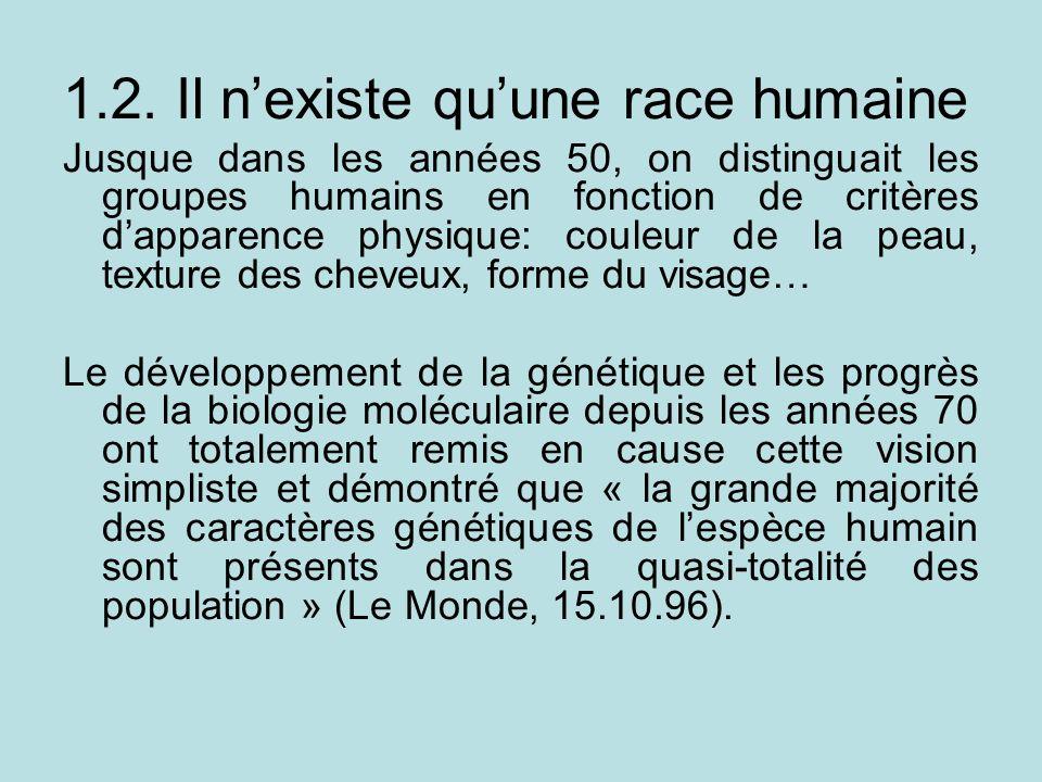 1.2. Il nexiste quune race humaine Jusque dans les années 50, on distinguait les groupes humains en fonction de critères dapparence physique: couleur