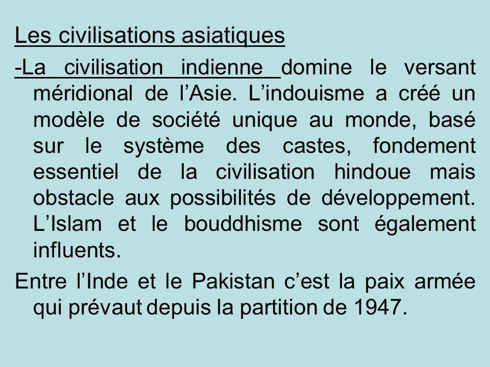 Les civilisations asiatiques -La civilisation indienne domine le versant méridional de lAsie. Lindouisme a créé un modèle de société unique au monde,