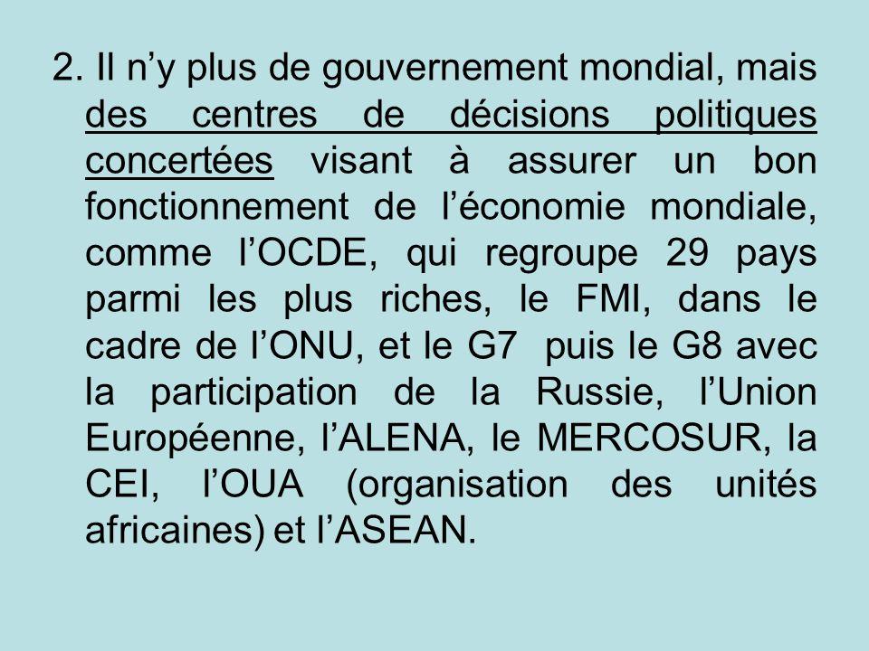 2. Il ny plus de gouvernement mondial, mais des centres de décisions politiques concertées visant à assurer un bon fonctionnement de léconomie mondial