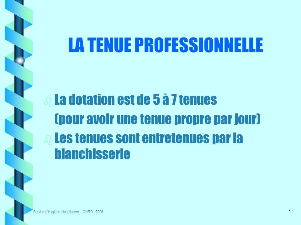 Service d'Hygiène Hospitalière - CHRO - 20062 LA TENUE PROFESSIONNELLE Hygiène corporelle : cheveux propres attachés, ongles courts, sans vernis, sans