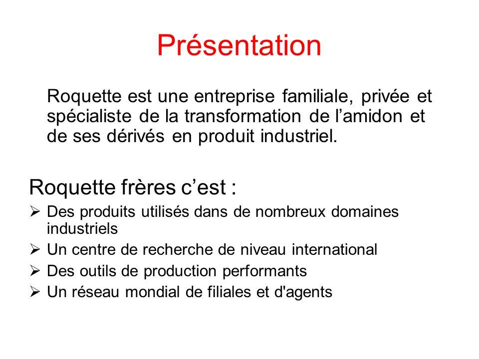 Historique Crée en 1933 par Dominique et Germain Roquette à Lestrem Premier Brevet déposé en 1937 Lancement de lactivité Glucose en 1950 Premier Laboratoire de recherche industrielles en 1951 Expansion en Europe à partir des années 60 Expansion mondiale à partir des années 80