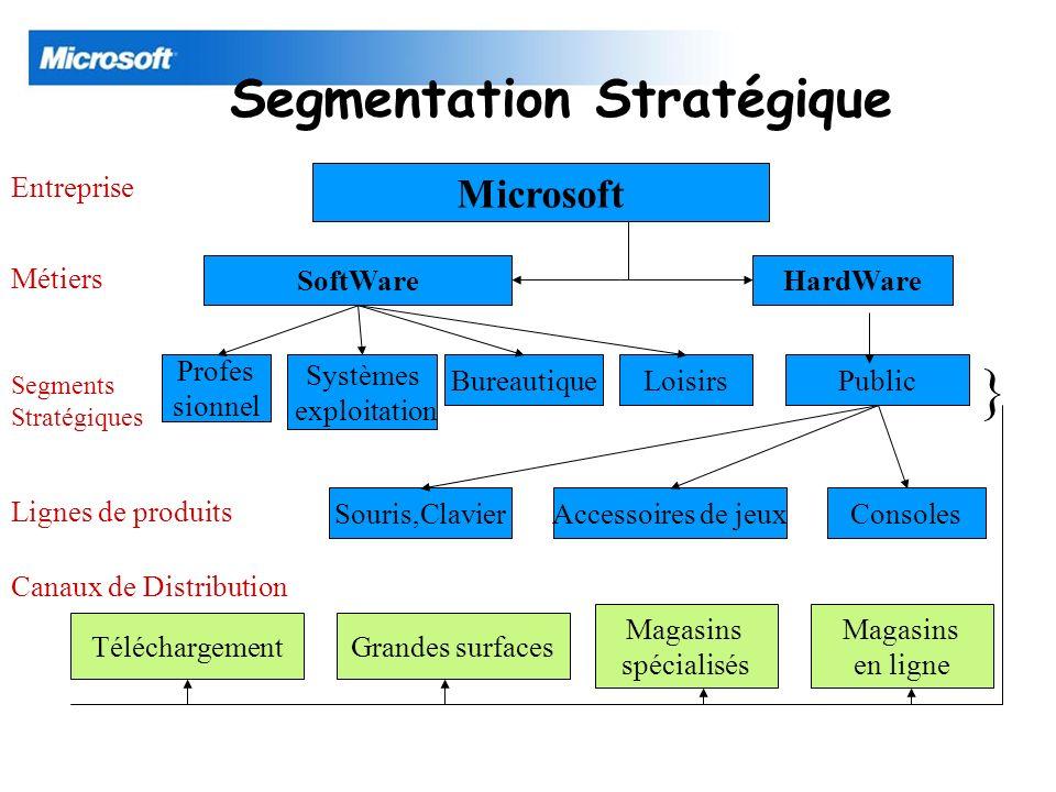 Segmentation Stratégique Microsoft SoftWareHardWare Profes sionnel Public Consoles Bureautique Systèmes exploitation Loisirs Souris,ClavierAccessoires