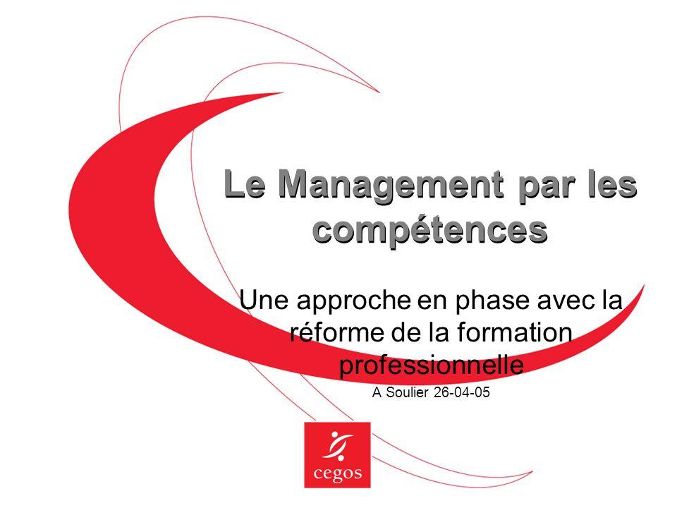 Les 2 directions du management par les compétences Les compétences stratégiques de lindividu développées par tous tout au long de la vie Pour garantir lemployabilité interne ou externe de chaque collaborateur Pour faire face à lallongement des carrières
