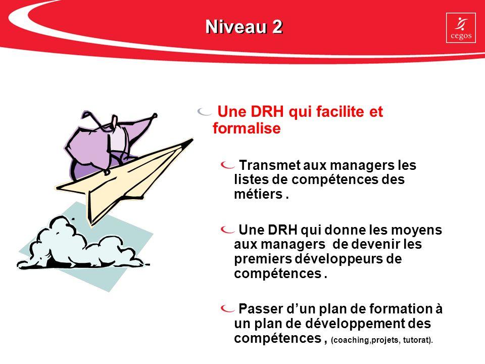 Niveau 2 Une DRH qui facilite et formalise Transmet aux managers les listes de compétences des métiers. Une DRH qui donne les moyens aux managers de d