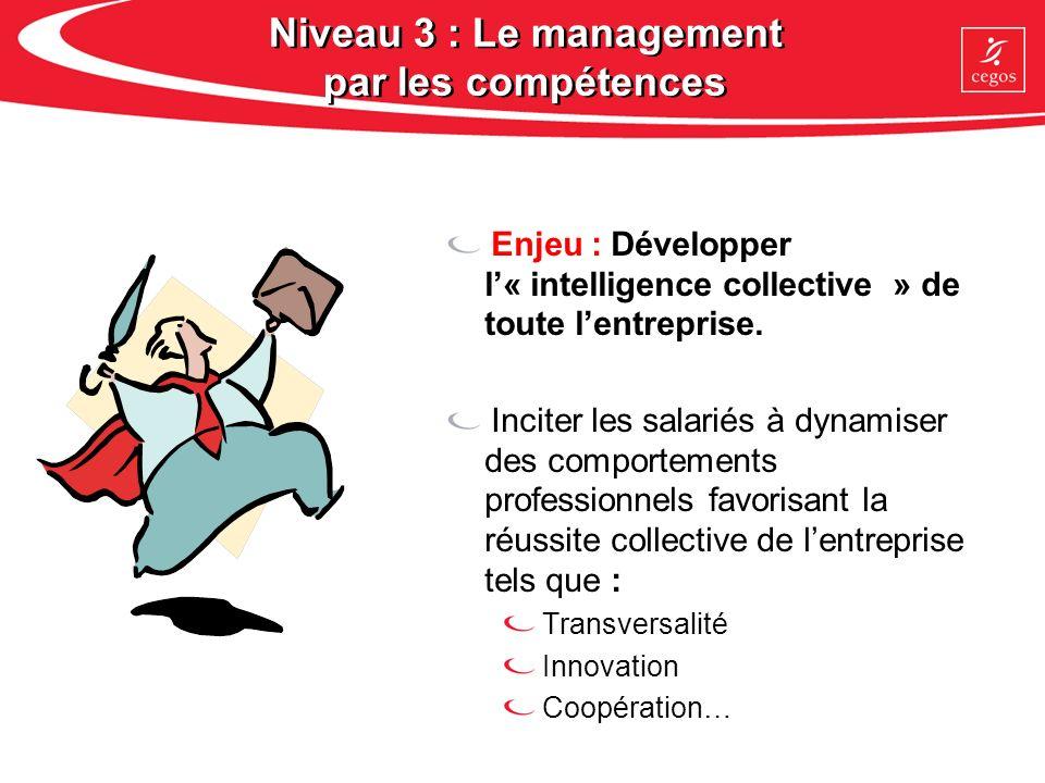 Niveau 3 : Le management par les compétences Enjeu : Développer l« intelligence collective » de toute lentreprise. Inciter les salariés à dynamiser de