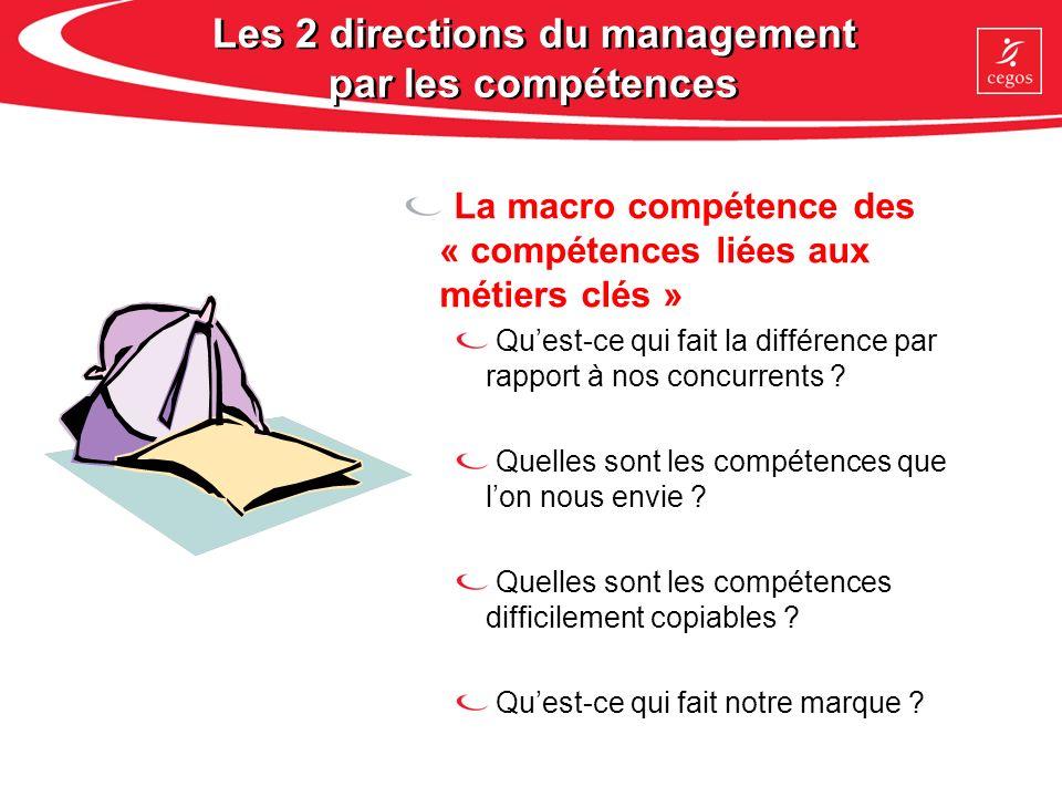 Les 2 directions du management par les compétences La macro compétence des « compétences liées aux métiers clés » Quest-ce qui fait la différence par