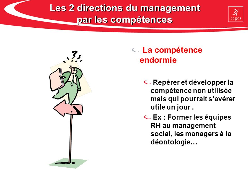 Les 2 directions du management par les compétences La compétence endormie Repérer et développer la compétence non utilisée mais qui pourrait savérer u