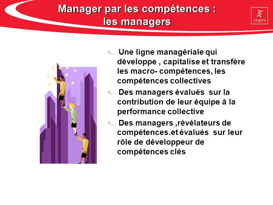 Manager par les compétences : les managers Une ligne managériale qui développe, capitalise et transfère les macro- compétences, les compétences collec