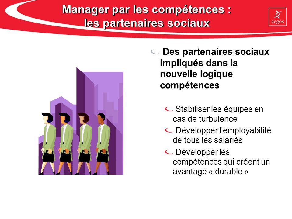 Manager par les compétences : les partenaires sociaux Des partenaires sociaux impliqués dans la nouvelle logique compétences Stabiliser les équipes en