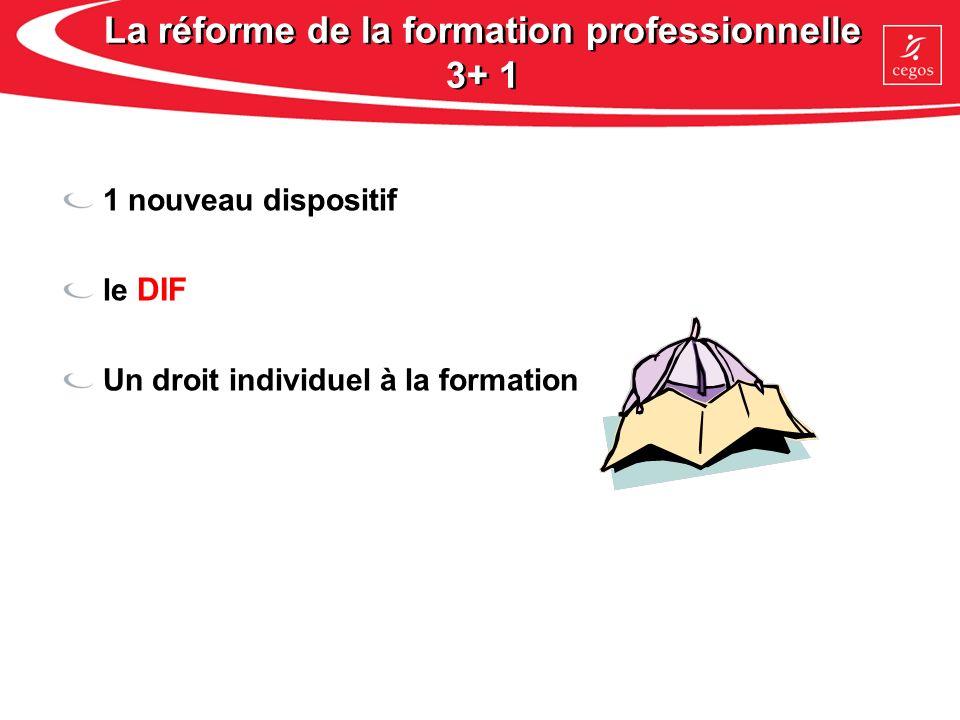 La réforme de la formation professionnelle 3+ 1 1 nouveau dispositif le DIF Un droit individuel à la formation
