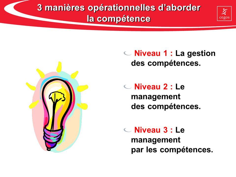 Niveau 1 : La gestion des compétences Les enjeux Connaître les métiers et ses ressources, et mieux répondre aux problématiques spécifiques.