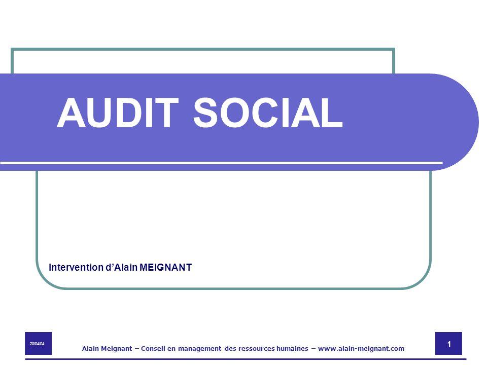 20/04/04 Alain Meignant – Conseil en management des ressources humaines – www.alain-meignant.com 1 Intervention dAlain MEIGNANT AUDIT SOCIAL
