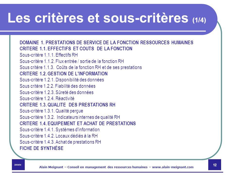 20/04/04 Alain Meignant – Conseil en management des ressources humaines – www.alain-meignant.com 12 Les critères et sous-critères (1/4) DOMAINE 1. PRE