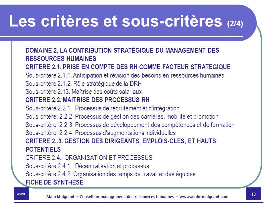 20/04/04 Alain Meignant – Conseil en management des ressources humaines – www.alain-meignant.com 13 Les critères et sous-critères (2/4) DOMAINE 2. LA