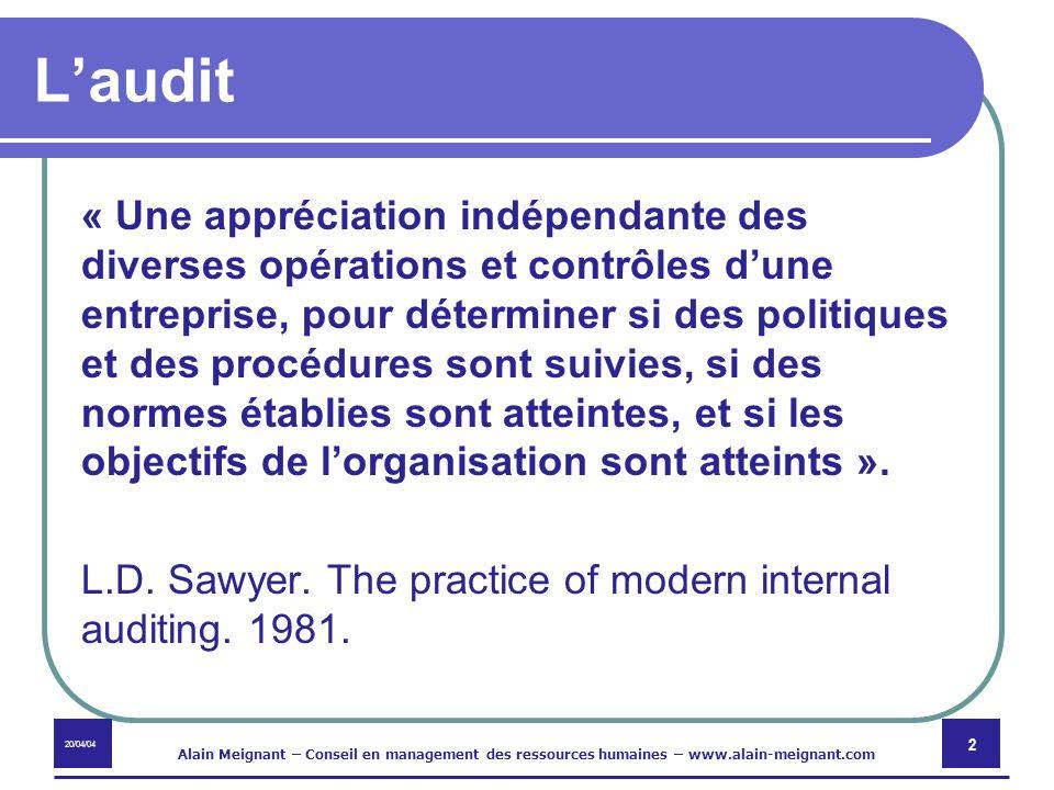 20/04/04 Alain Meignant – Conseil en management des ressources humaines – www.alain-meignant.com 2 Laudit « Une appréciation indépendante des diverses