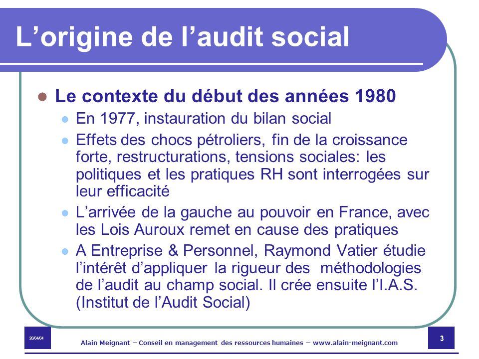 20/04/04 Alain Meignant – Conseil en management des ressources humaines – www.alain-meignant.com 3 Lorigine de laudit social Le contexte du début des