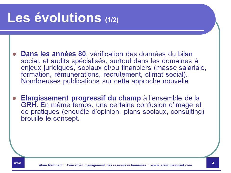 20/04/04 Alain Meignant – Conseil en management des ressources humaines – www.alain-meignant.com 5 Les évolutions (2/2) Dans les années 2000, extension du champ à des enjeux nouveaux externes (environnement social, clients, investisseurs) avec la RSE.