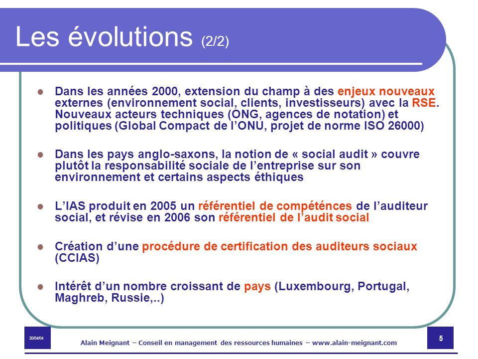 20/04/04 Alain Meignant – Conseil en management des ressources humaines – www.alain-meignant.com 16 Publication de la méthodologie 48 critères classés dans les 4 domaines Sur chaque critère, système de notation basé sur le PDCA, avec notation de 1 à 10, et enregistrement de points forts / à améliorer / à approfondir Ouverture du site www.auditmrh.com dédié sur abonnement permettant dutiliser la méthode en ligne (développé avec la société Webcompetence) www.auditmrh.com