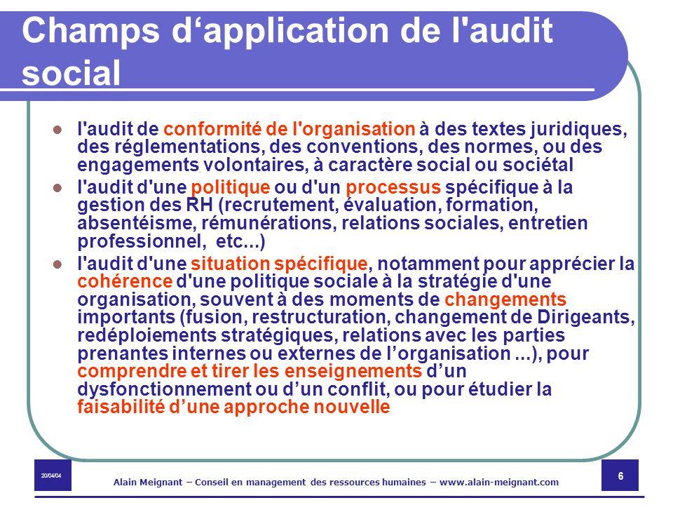 20/04/04 Alain Meignant – Conseil en management des ressources humaines – www.alain-meignant.com 6 Champs dapplication de l'audit social l'audit de co