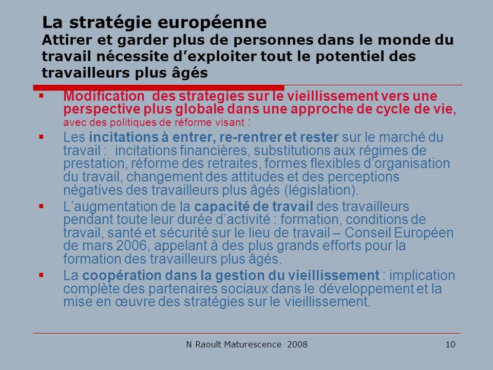 N Raoult Maturescence 200810 La stratégie européenne Attirer et garder plus de personnes dans le monde du travail nécessite dexploiter tout le potenti