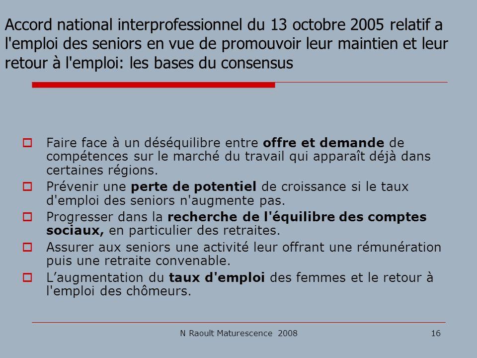 N Raoult Maturescence 200816 Accord national interprofessionnel du 13 octobre 2005 relatif a l'emploi des seniors en vue de promouvoir leur maintien e