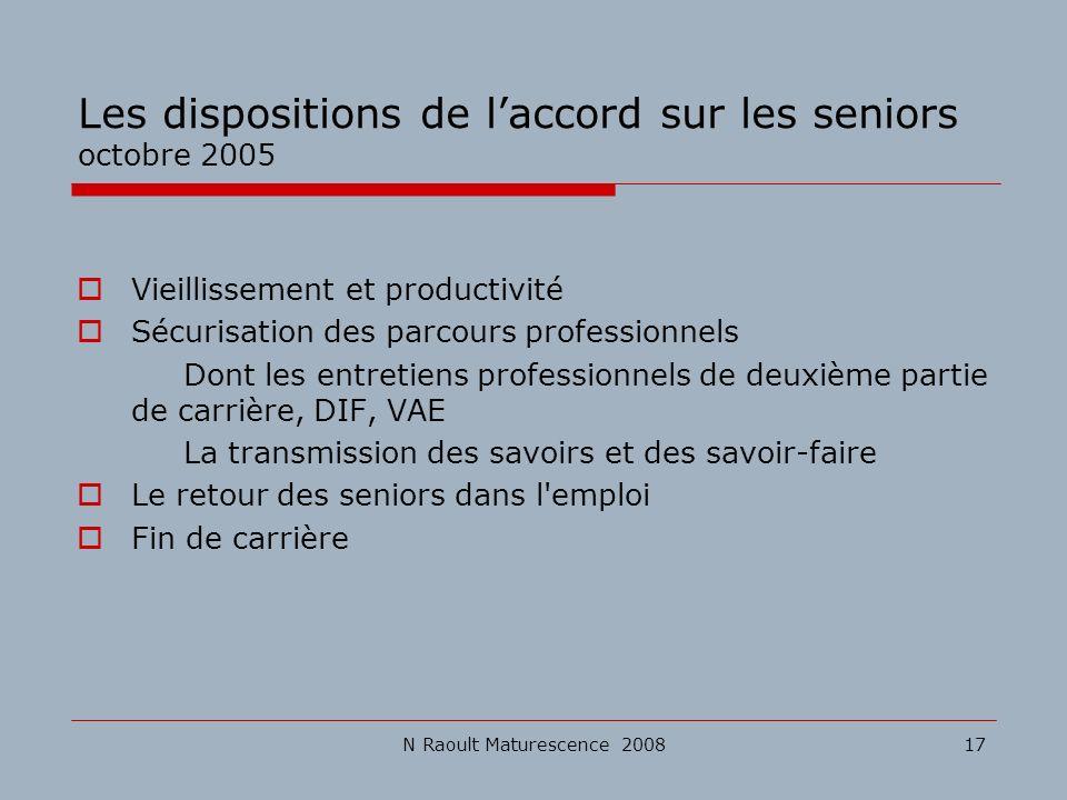 N Raoult Maturescence 200817 Les dispositions de laccord sur les seniors octobre 2005 Vieillissement et productivité Sécurisation des parcours profess