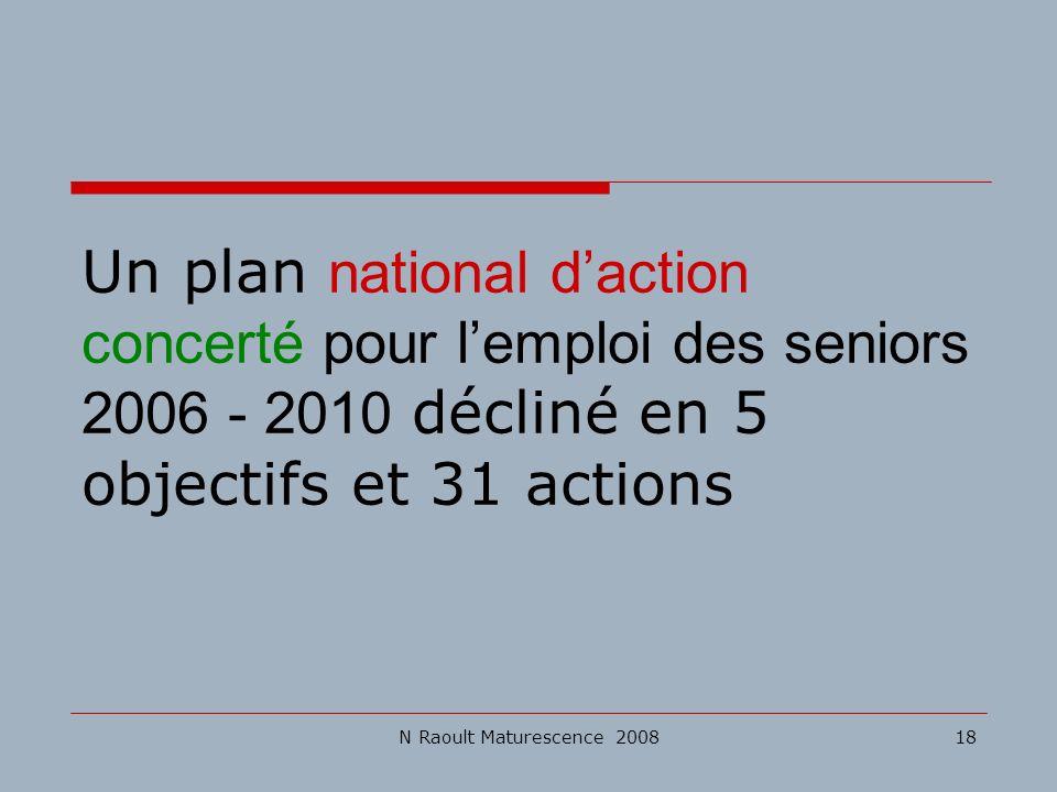 N Raoult Maturescence 200818 Un plan national daction concerté pour lemploi des seniors 2006 - 2010 décliné en 5 objectifs et 31 actions