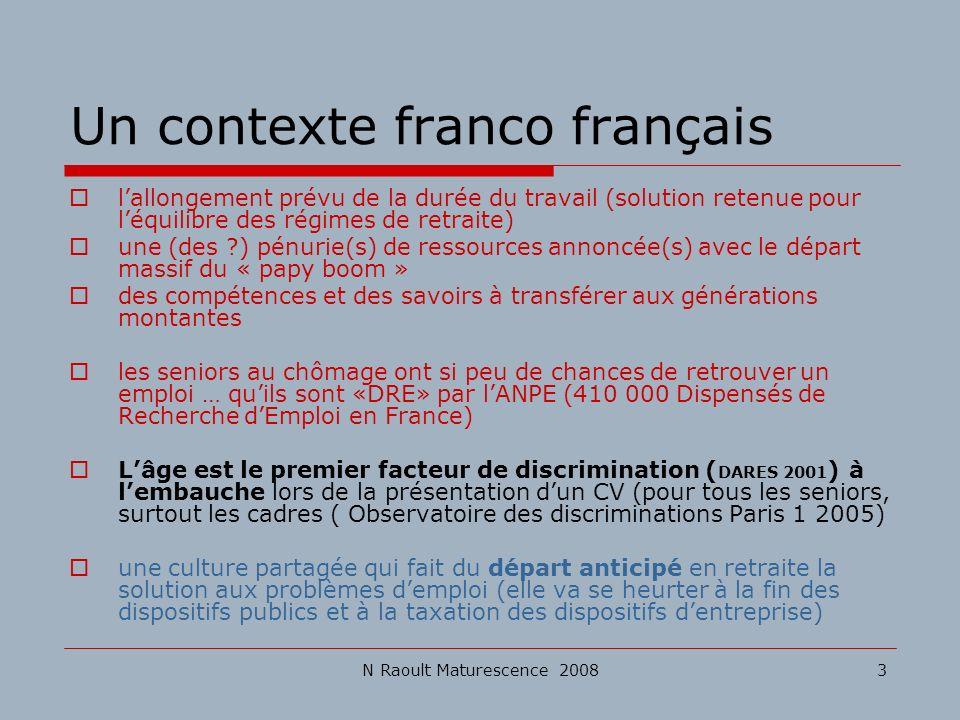 N Raoult Maturescence 20083 Un contexte franco français lallongement prévu de la durée du travail (solution retenue pour léquilibre des régimes de ret