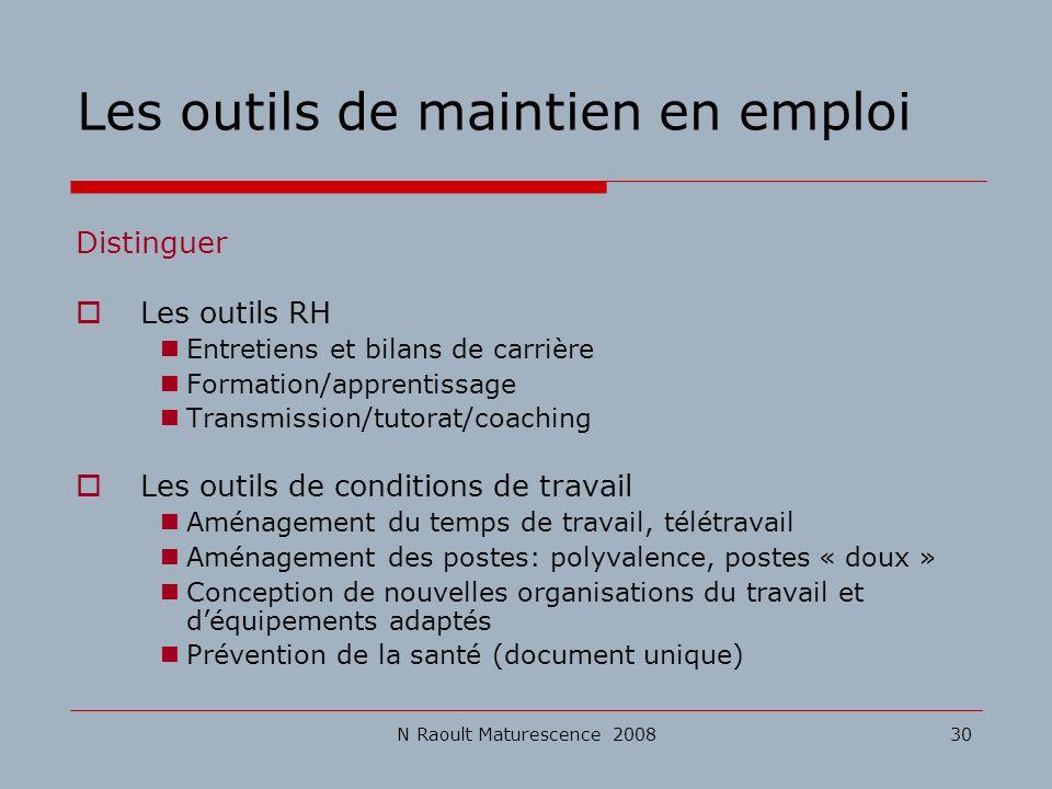 N Raoult Maturescence 200830 Les outils de maintien en emploi Distinguer Les outils RH Entretiens et bilans de carrière Formation/apprentissage Transm