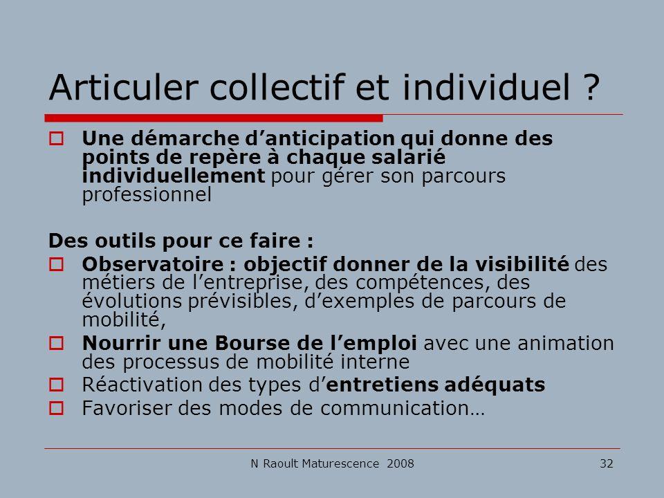 N Raoult Maturescence 200832 Articuler collectif et individuel ? Une démarche danticipation qui donne des points de repère à chaque salarié individuel