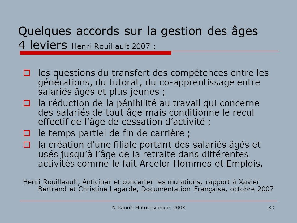 N Raoult Maturescence 200833 Quelques accords sur la gestion des âges 4 leviers Henri Rouillault 2007 : les questions du transfert des compétences ent