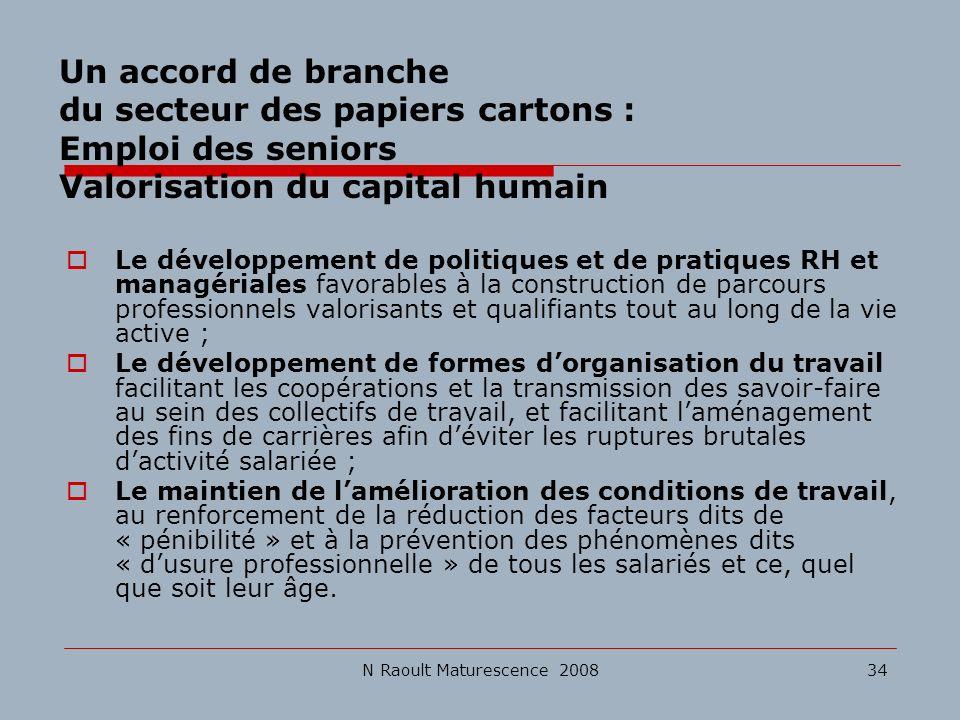 N Raoult Maturescence 200834 Un accord de branche du secteur des papiers cartons : Emploi des seniors Valorisation du capital humain Le développement