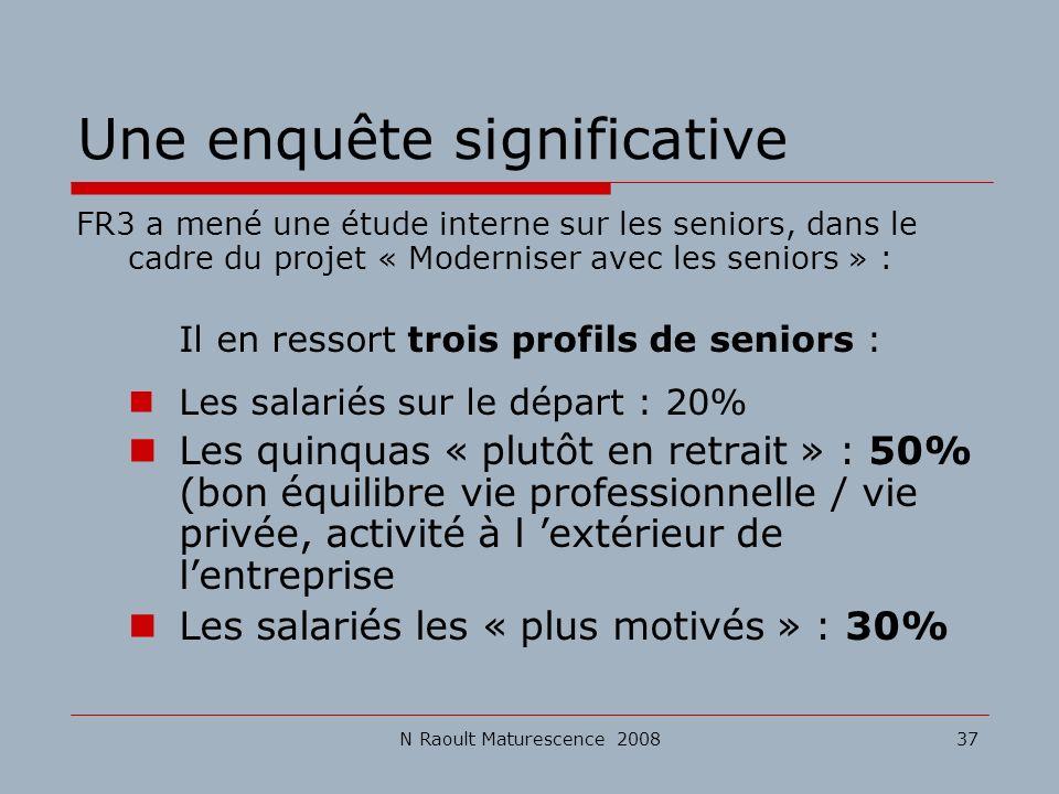 N Raoult Maturescence 200837 Une enquête significative FR3 a mené une étude interne sur les seniors, dans le cadre du projet « Moderniser avec les sen