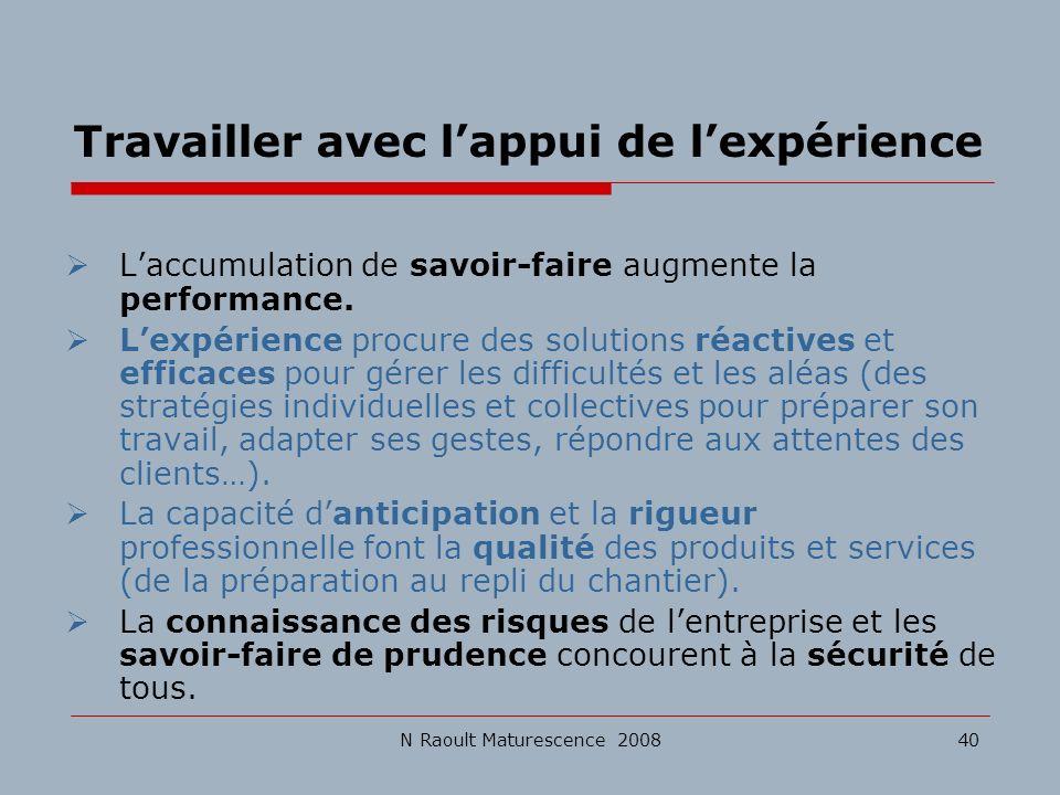 N Raoult Maturescence 200840 Travailler avec lappui de lexpérience Laccumulation de savoir-faire augmente la performance. Lexpérience procure des solu