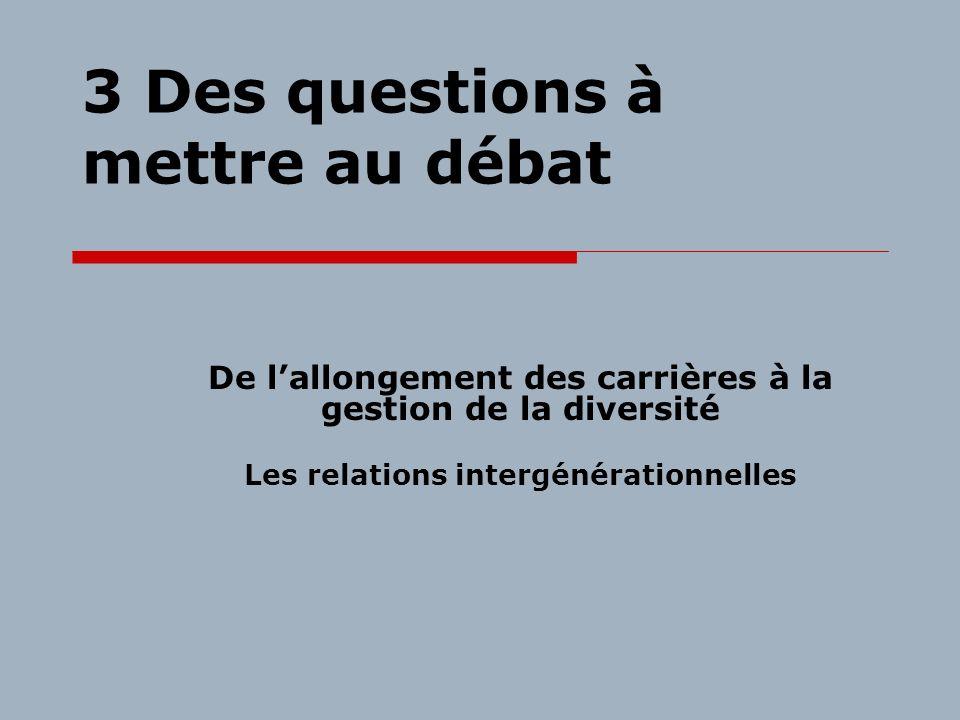 3 Des questions à mettre au débat De lallongement des carrières à la gestion de la diversité Les relations intergénérationnelles