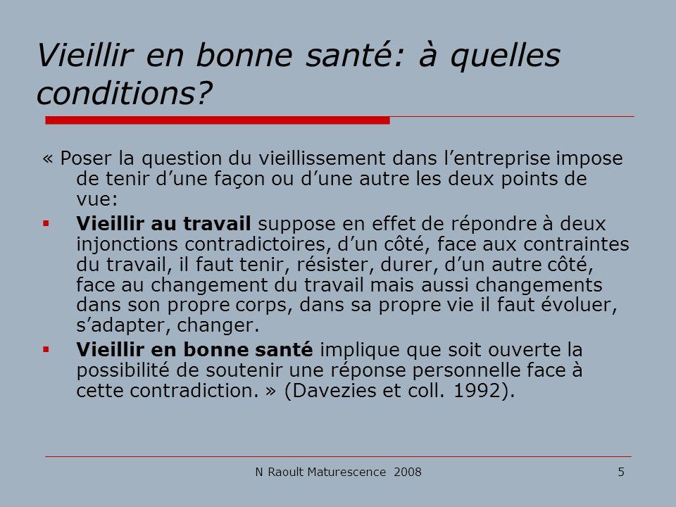 N Raoult Maturescence 20085 Vieillir en bonne santé: à quelles conditions? « Poser la question du vieillissement dans lentreprise impose de tenir dune